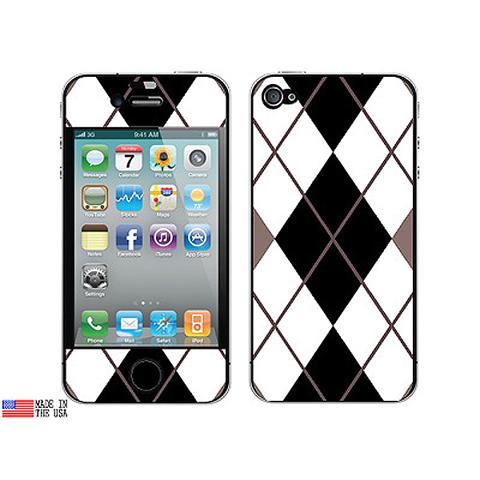 Argyle Hipster Black White iPhone 4 Skin