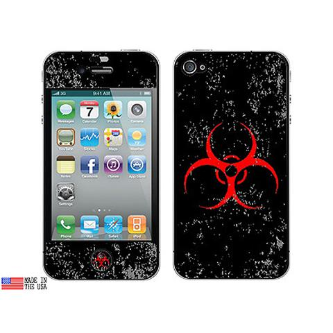 Biohazard Warning Symbol Red Zombies Distressed iPhone 4 Skin