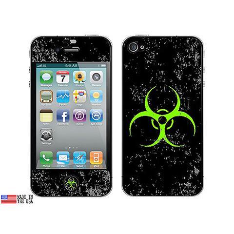 Biohazard Warning Symbol Green Zombies Distressed iPhone 4 Skin