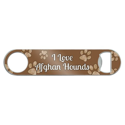 I Love Afghan Hounds Stainless Steel Flat Speed Bar Bottle Opener