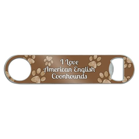 I Love American English Coonhounds Stainless Steel Flat Speed Bar Bottle Opener