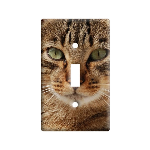 Brown Tabby Cat Face Light Switch Plate Cover