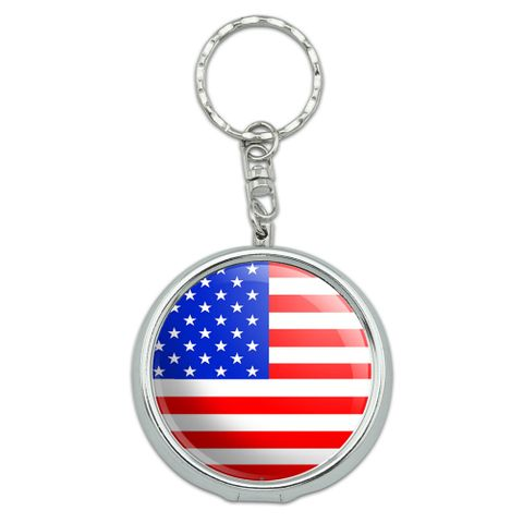 American USA Flag Portable Ashtray Keychain