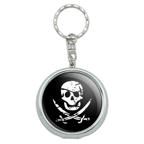 Pirate Skull Crossed Swords Portable Ashtray Keychain