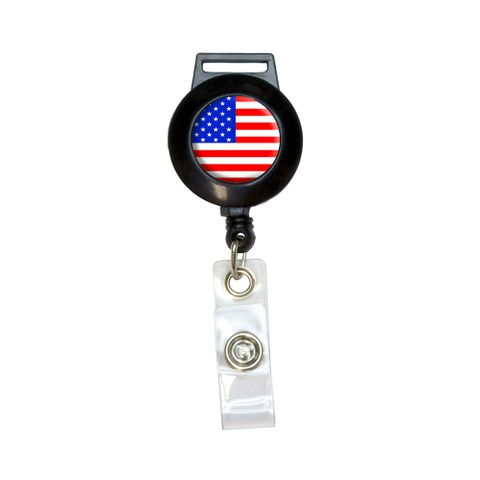 American USA Flag - Patriotic Retractable Badge Card ID Holder