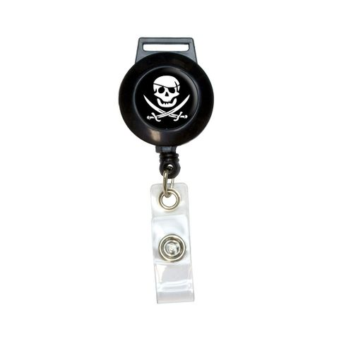 Pirate Skull Crossed Swords - Jolly Roger Retractable Badge Card ID Holder
