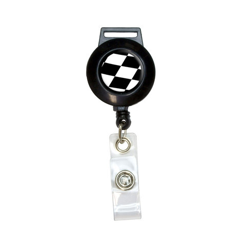 Checkered Flag - Racing Retractable Badge Card ID Holder