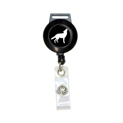 Wolf Howling Retractable Badge Card ID Holder