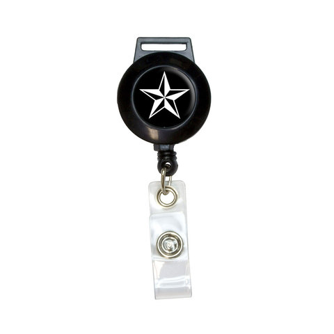 Nautical Star - Black Retractable Badge Card ID Holder