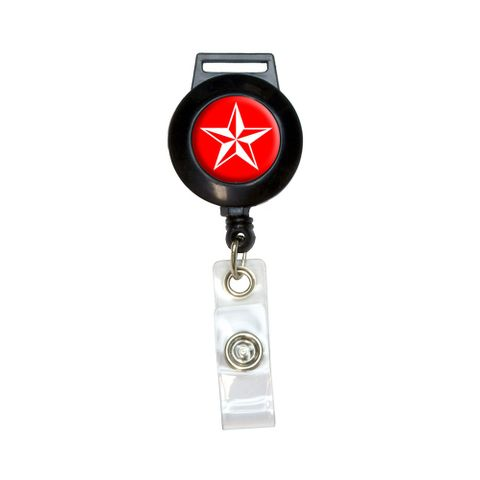 Nautical Star - Red Retractable Badge Card ID Holder