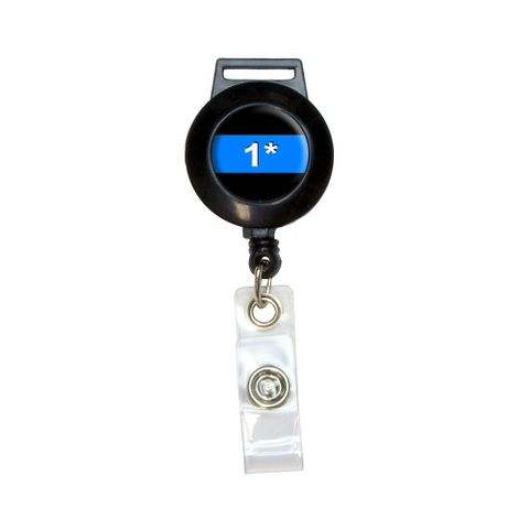 Thin Blue Line 1 One Asterisk - Police Policemen Retractable Badge Card ID Holder