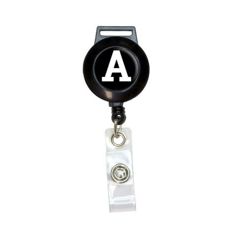 Letter A Initial Black White Retractable Badge Card ID Holder
