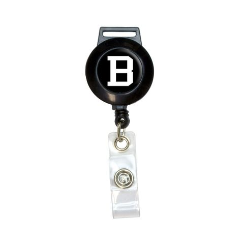Letter B Initial Black White Retractable Badge Card ID Holder