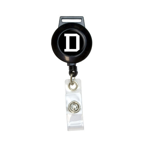 Letter D Initial Black White Retractable Badge Card ID Holder