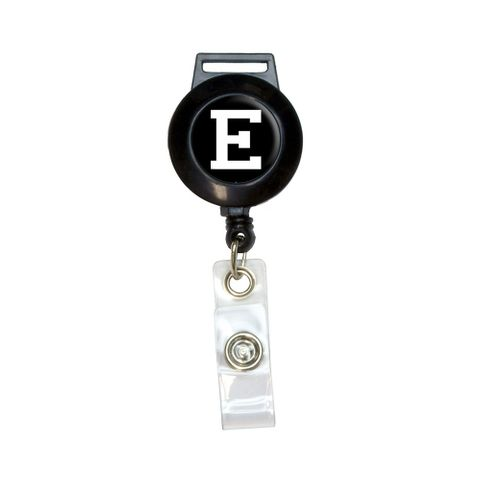 Letter E Initial Black White Retractable Badge Card ID Holder