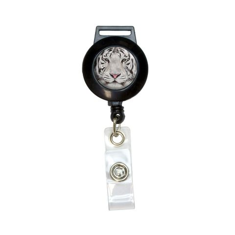 White Bengal Tiger with Blue Eyes Retractable Badge Card ID Holder