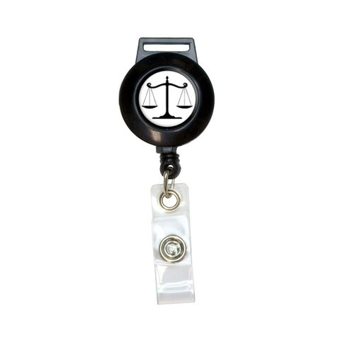 Balanced Scales of Justice Symbol Legal Lawyer White and Black Retractable Badge Card ID Holder