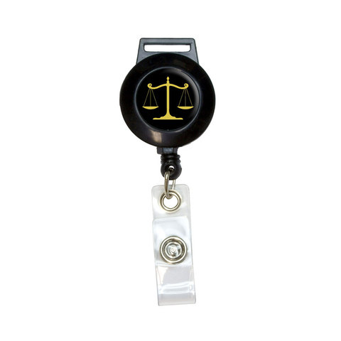 Balanced Scales of Justice Symbol Legal Lawyer Gold and Black Retractable Badge Card ID Holder