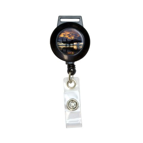 Aircraft Jet Fighter at Sunset - Air Force Retractable Badge Card ID Holder
