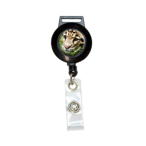 Clouded Leopard Retractable Badge Card ID Holder