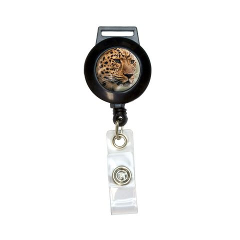 Leopard Portrait - Big Hunting Cat Retractable Badge Card ID Holder