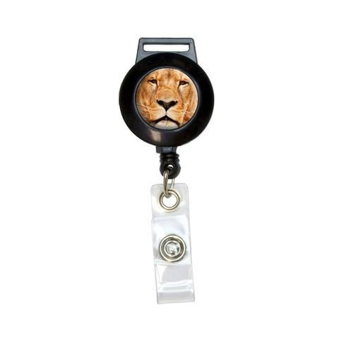 Portrait of a Male Lion Retractable Badge Card ID Holder