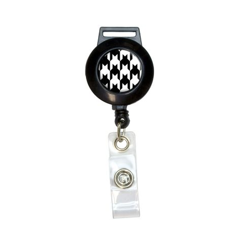 Preppy Houndstooth White Black Retractable Badge Card ID Holder
