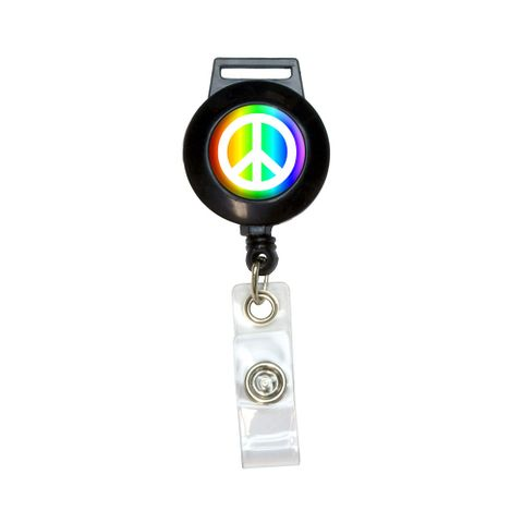 Peace Sign Symbol - Rainbow Retractable Badge Card ID Holder