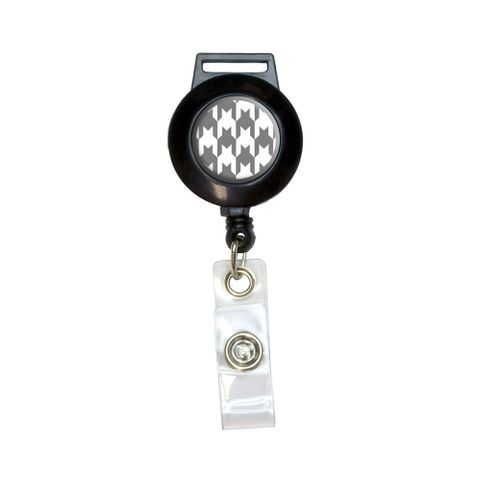 Preppy Houndstooth White Gray Retractable Badge Card ID Holder