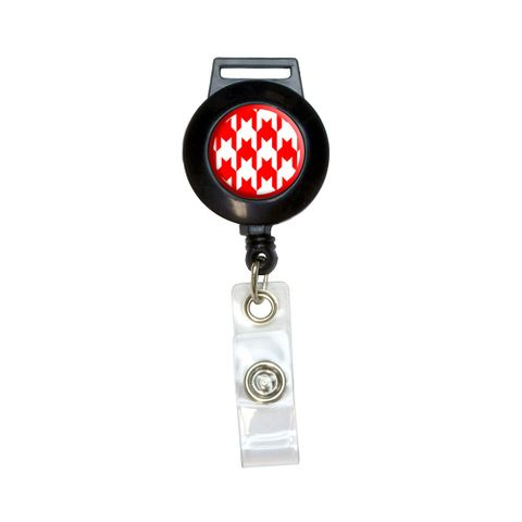 Preppy Houndstooth White Red Retractable Badge Card ID Holder