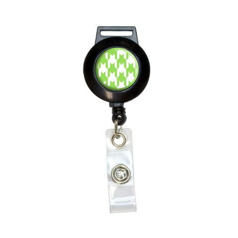 Preppy Houndstooth White Green Retractable Badge Card ID Holder