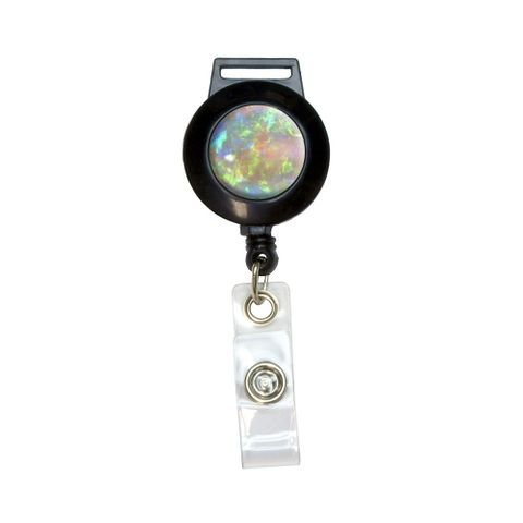 Opal October Birthstone - Faux Resin Retractable Badge Card ID Holder