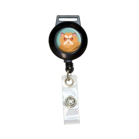 Geometric Persian Orange Retractable Badge Card ID Holder