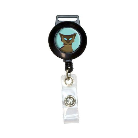 Geometric Cat Siamese Dark Retractable Badge Card ID Holder