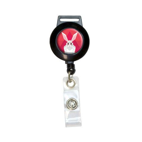 Geometric Rabbit Pink Retractable Badge Card ID Holder