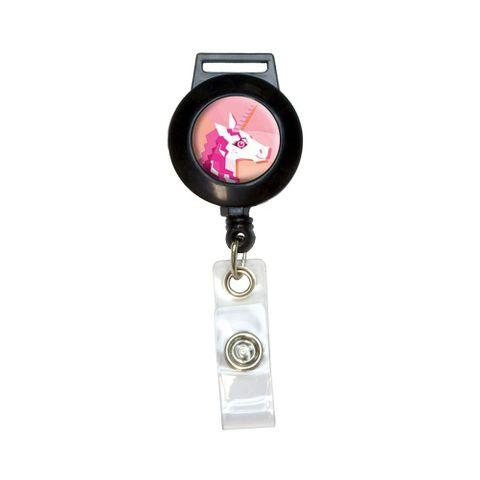 Geometric Unicorn Pink - Fantasy Retractable Badge Card ID Holder