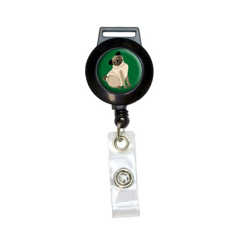 Pug Green - Dog Pet Retractable Badge Card ID Holder