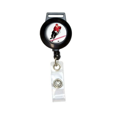 Ice Hockey Player Red Jersey Retractable Badge Card ID Holder