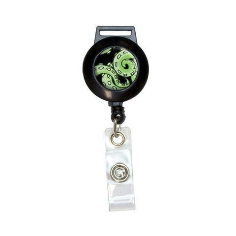 Green Tentacles - Squid Octopus Sea Monster Retractable Badge Card ID Holder