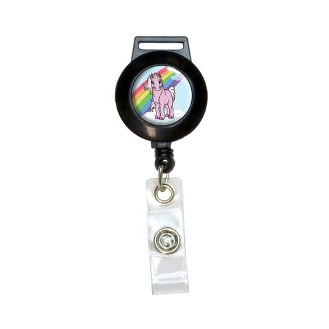 Pink Unicorn on Cloud - Rainbow Pony Retractable Badge Card ID Holder