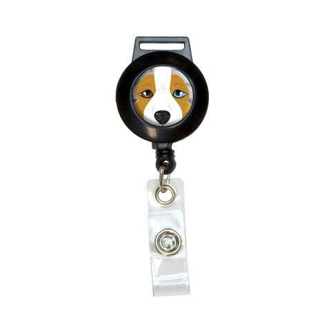 Australian Shepherd Face - Aussie Dog Pet Retractable Badge Card ID Holder