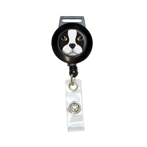 Boston Terrier Face - Dog Pet Retractable Badge Card ID Holder