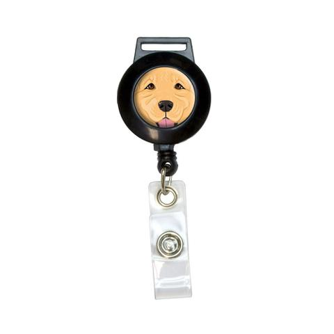 Golden Retriever Face - Pet Dog Retractable Badge Card ID Holder