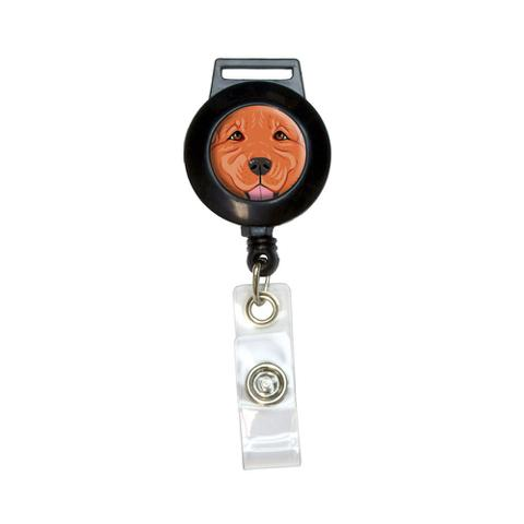 Dark Red Golden Retriever Face - Pet Dog Retractable Badge Card ID Holder