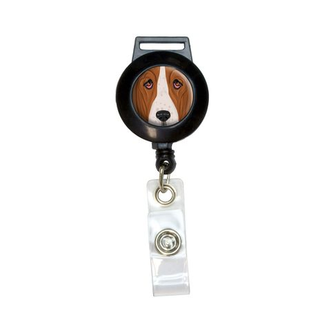 Basset Hound Face - Dog Pet Retractable Badge Card ID Holder