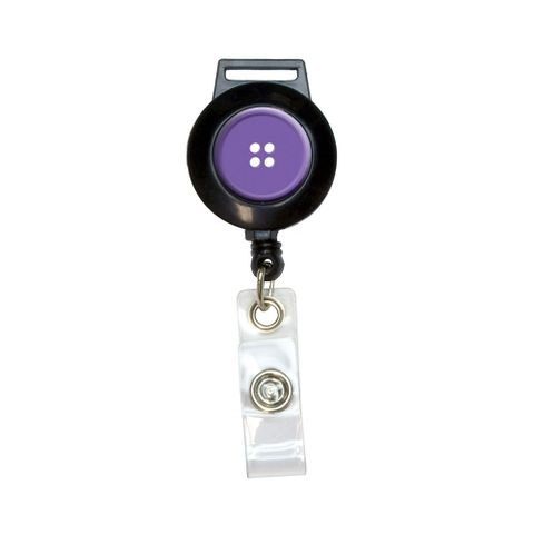 Purple Clothing Button - Sewing Retractable Badge Card ID Holder