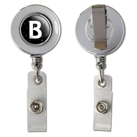 Letter B Initial Black and White Retractable Reel Chrome Badge ID Card Holder