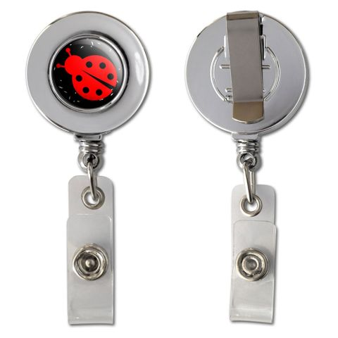 Ladybug Red On Black Retractable Reel Chrome Badge ID Card Holder