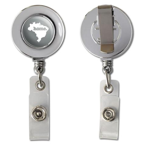 Brazil Home Country Chrome Badge ID Card Holder - Solid Grey Gray