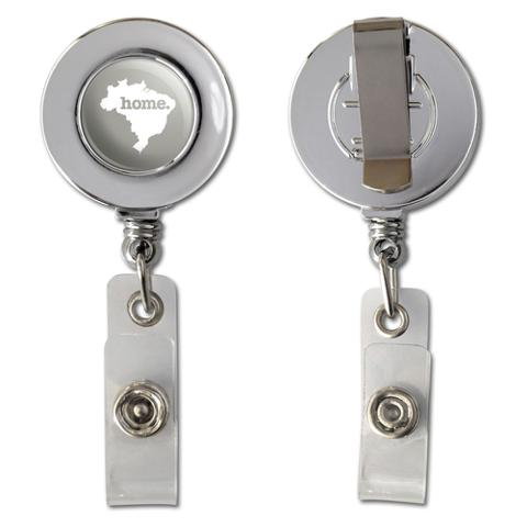 Brazil Home Country Chrome Badge ID Card Holder - Solid Warm Grey Gray
